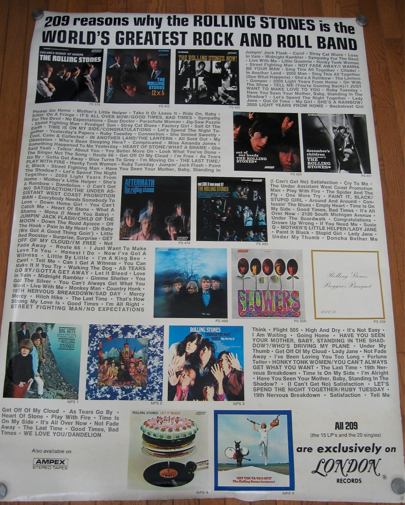 ONE OF THE RAREST OF ALL ROLLING STONES RECORD STORE POSTERS.
