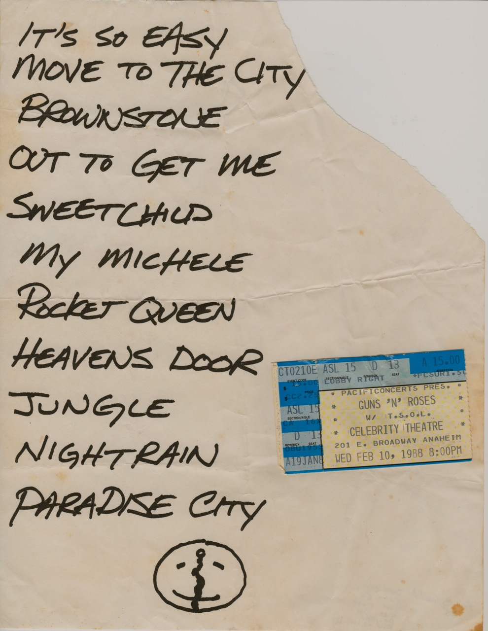Guns N Roses Set Lists Another Collecting Obsession Thanks In